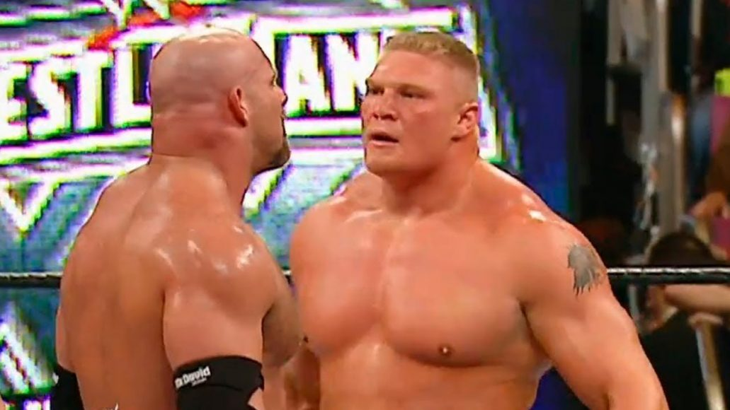 Photo of Goldberg Vs Brock Lesner At Wrestlmania 2004
