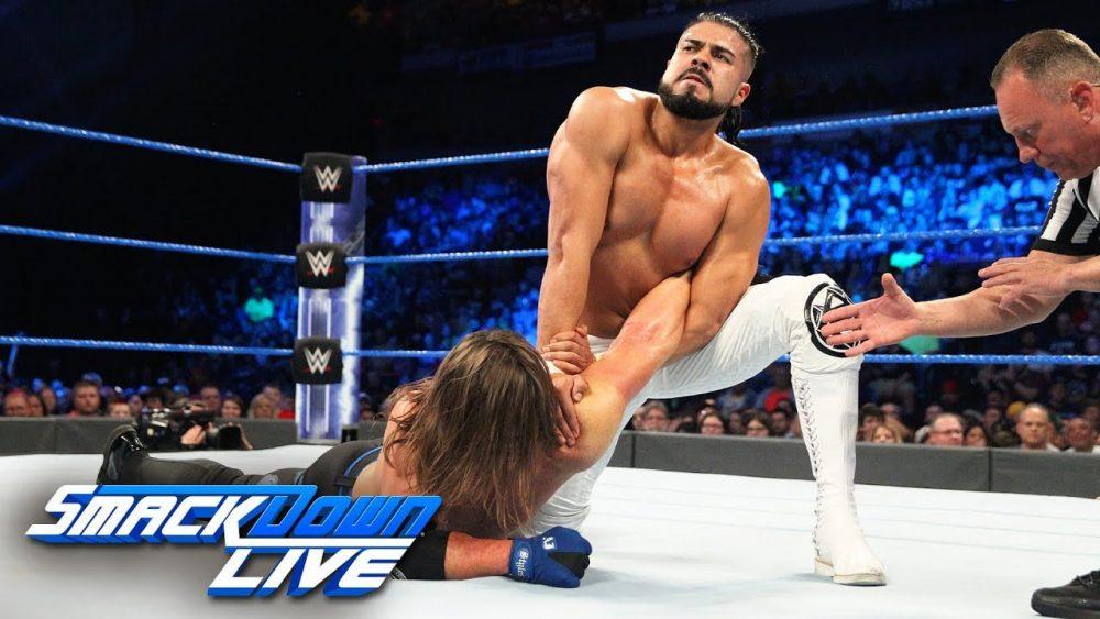 "Photo of AJ Styles vs. Andrade ""Cien"" Almas: SmackDown LIVE, July 17, 2018"