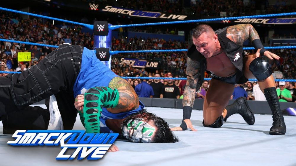 Photo of Shinsuke Nakamura and Randy Orton both execute attacks on Jeff Hardy: SmackDown LIVE, July 31, 2018